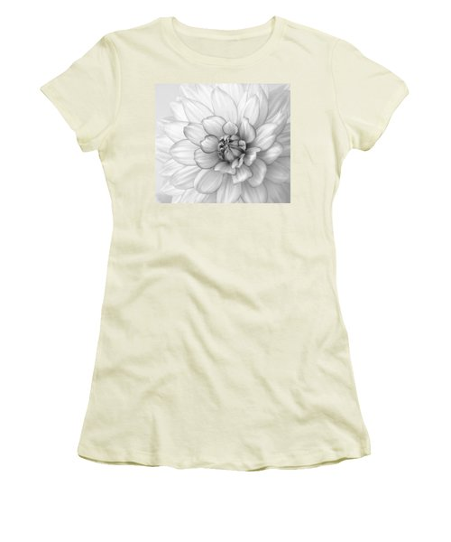 Dahlia Flower Black And White Women's T-Shirt (Athletic Fit)