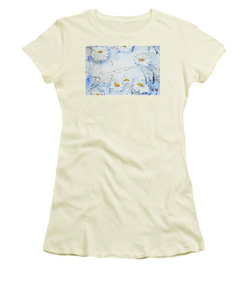 Women's T-Shirt (Junior Cut) featuring the painting Daisies - Flower by Ismeta Gruenwald
