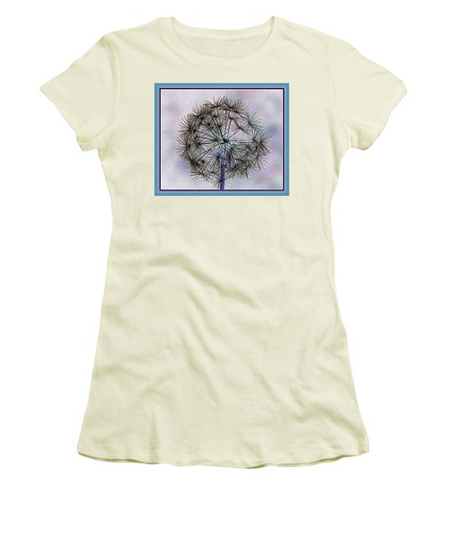 Women's T-Shirt (Junior Cut) featuring the photograph Dandelion Blue And Purple by Kathy Barney