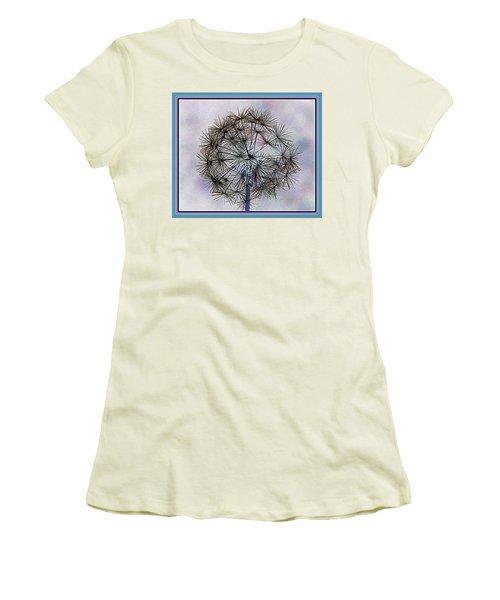 Dandelion Blue And Purple Women's T-Shirt (Junior Cut) by Kathy Barney
