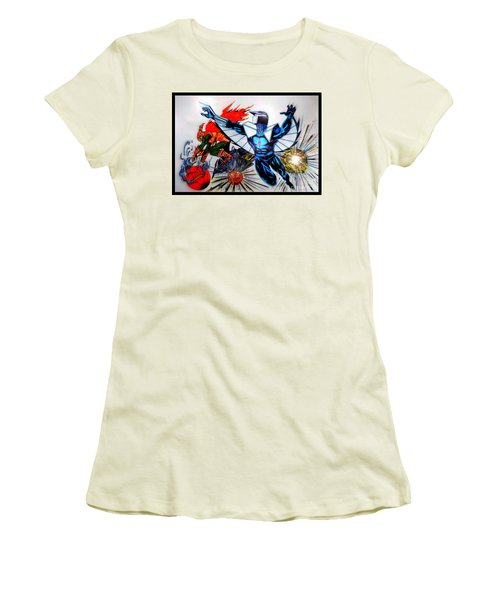 Women's T-Shirt (Junior Cut) featuring the drawing Darkhawk Vs Hobgoblin Focused by Justin Moore