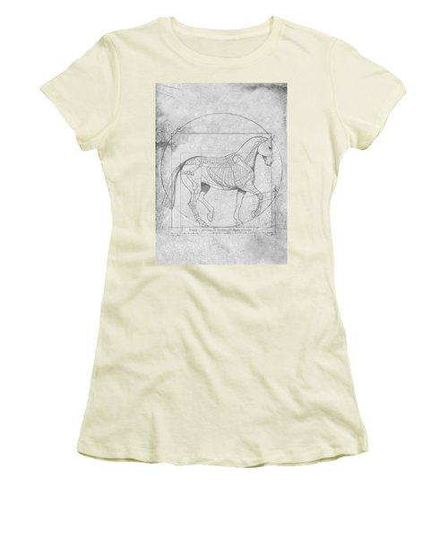 Da Vinci Horse Piaffe Grayscale Women's T-Shirt (Junior Cut) by Catherine Twomey