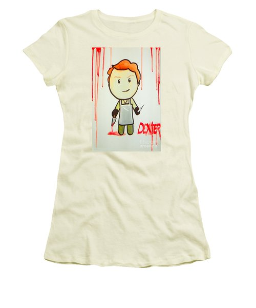 Women's T-Shirt (Junior Cut) featuring the painting Dexter by Marisela Mungia