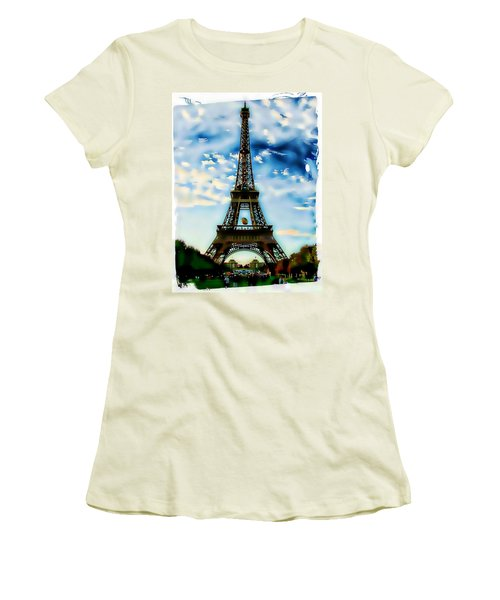 Women's T-Shirt (Junior Cut) featuring the photograph Dreamy Eiffel Tower by Kathy Churchman