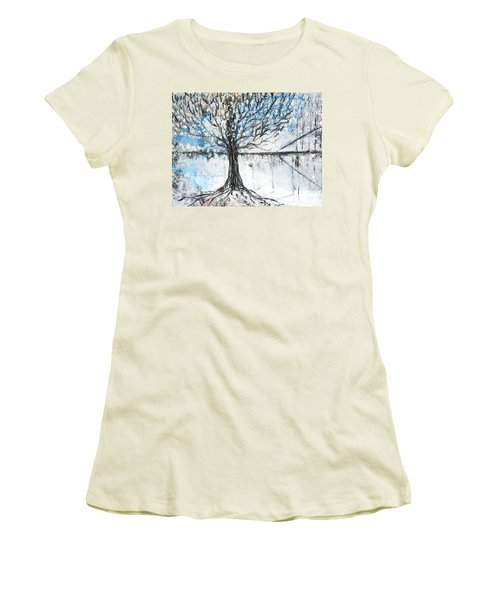 Women's T-Shirt (Junior Cut) featuring the painting Dreamy Spring by Evelina Popilian