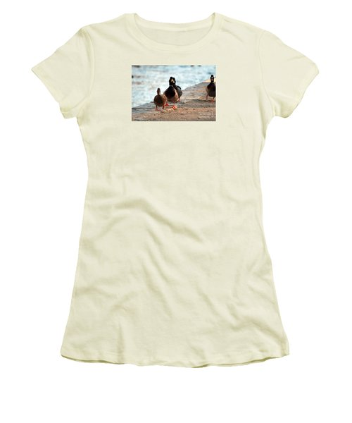Women's T-Shirt (Junior Cut) featuring the photograph Duck Walk by David Jackson