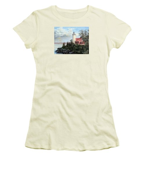 Women's T-Shirt (Junior Cut) featuring the painting Eagle Harbor Light by Lee Piper