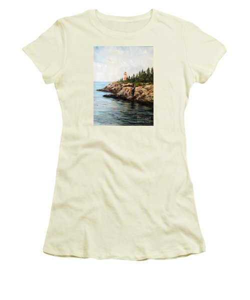Women's T-Shirt (Junior Cut) featuring the painting East Quoddy Head Light by Lee Piper