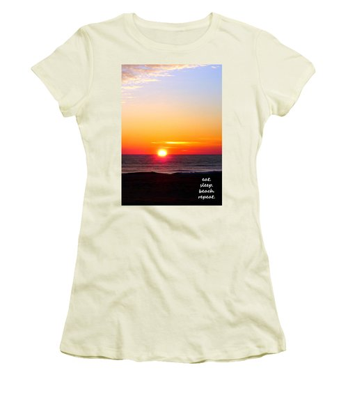 East. Sleep. Beach Sunrise Women's T-Shirt (Athletic Fit)