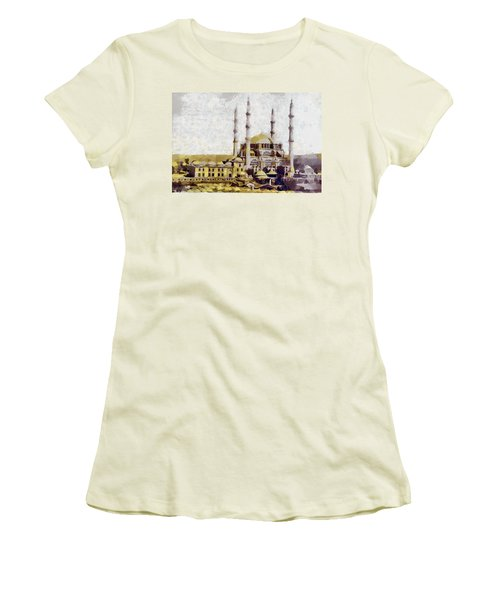 Women's T-Shirt (Junior Cut) featuring the painting Edirne Turkey Old Town by Georgi Dimitrov