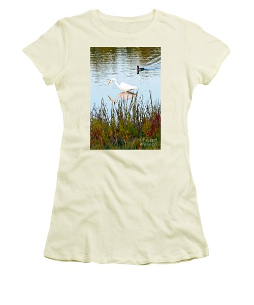Women's T-Shirt (Junior Cut) featuring the photograph Egret And Coot In Autumn by Kate Brown