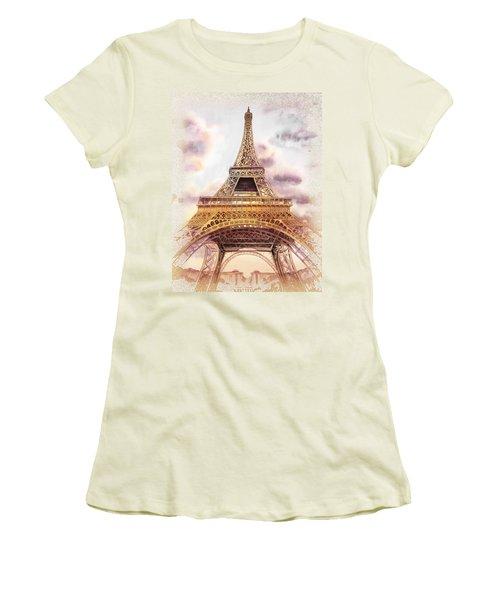 Eiffel Tower Vintage Art Women's T-Shirt (Junior Cut) by Irina Sztukowski