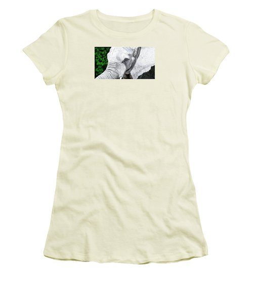 Women's T-Shirt (Junior Cut) featuring the painting Elephant II by Jeanne Fischer