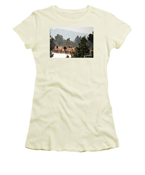Women's T-Shirt (Junior Cut) featuring the photograph Elk In The Snowing Open by Barbara Chichester