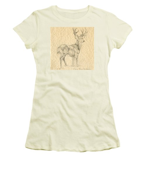 Women's T-Shirt (Junior Cut) featuring the drawing Elk by Mary Ellen Anderson