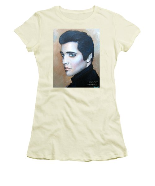 Women's T-Shirt (Junior Cut) featuring the painting Elvis by Patrice Torrillo