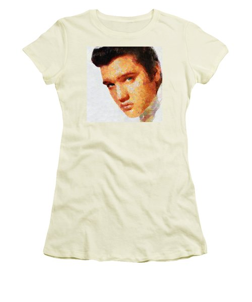 Women's T-Shirt (Junior Cut) featuring the painting Elvis Presley The King Of Rock Music by Georgi Dimitrov