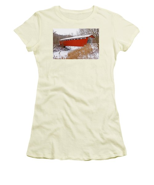 Everett Rd. Covered Bridge In Winter Women's T-Shirt (Athletic Fit)