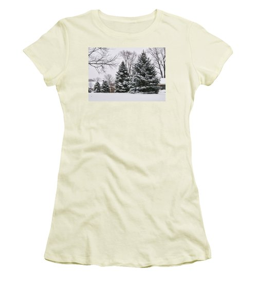 Evergreens In The Snow Women's T-Shirt (Athletic Fit)