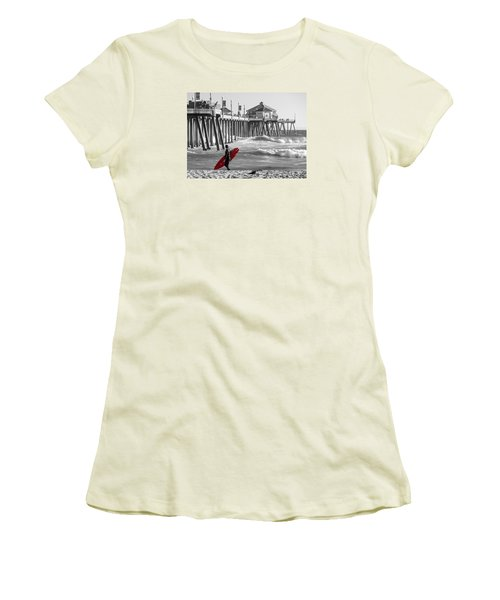 Existential Surfing At Huntington Beach Selective Color Women's T-Shirt (Athletic Fit)