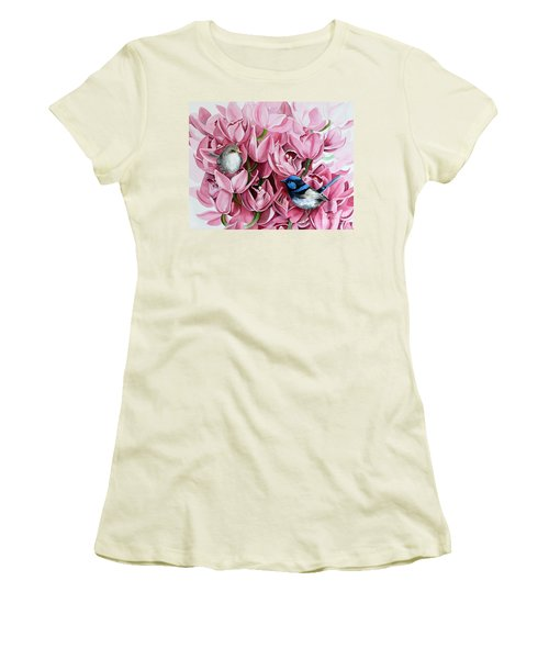 Fairy Wrens And Orchids Women's T-Shirt (Athletic Fit)