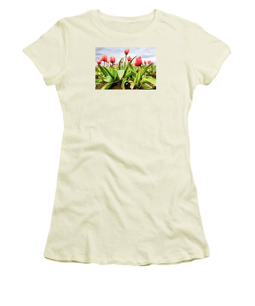 Women's T-Shirt (Junior Cut) featuring the photograph Field Of Pink Tulips by Athena Mckinzie