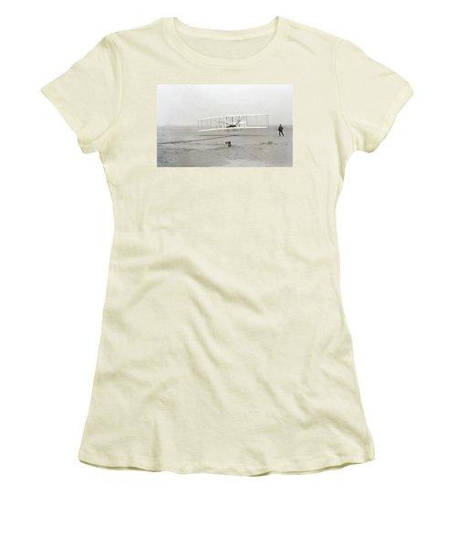 First Flight Captured On Glass Negative - 1903 Women's T-Shirt (Junior Cut) by Daniel Hagerman