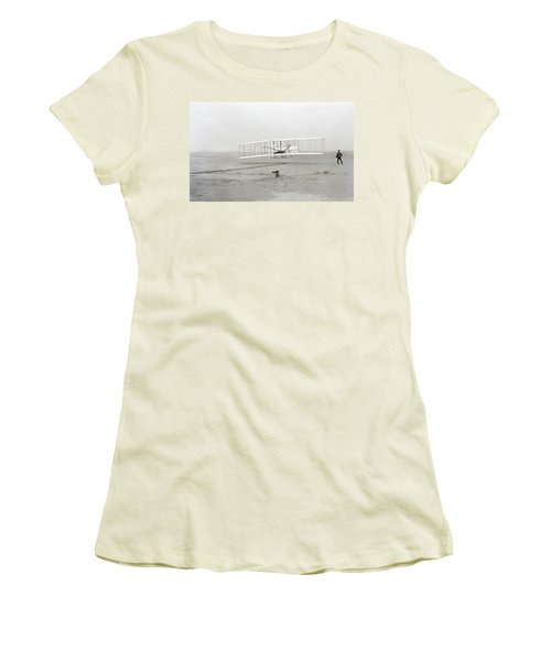 First Flight Captured On Glass Negative - 1903 Women's T-Shirt (Athletic Fit)