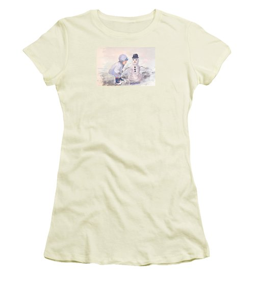 First Snowman Women's T-Shirt (Junior Cut) by Genevieve Brown