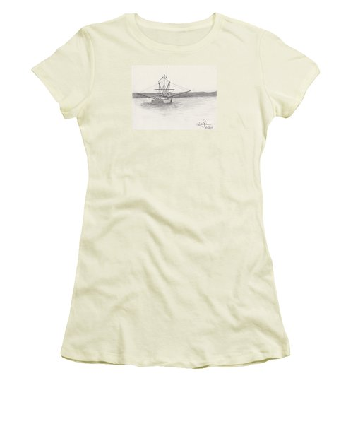 Women's T-Shirt (Junior Cut) featuring the drawing Fishing Boat by David Jackson