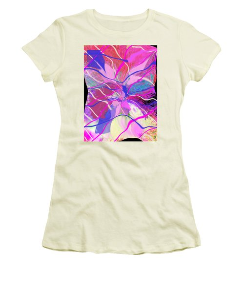 Original Contemporary Abstract Art Flowers From Heaven Women's T-Shirt (Athletic Fit)