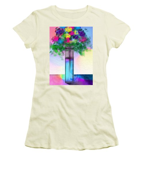 Women's T-Shirt (Junior Cut) featuring the digital art Flowers In A Glass Vase by Frank Bright