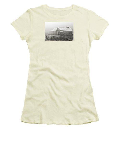 Foggy Barn Women's T-Shirt (Junior Cut) by Joan Davis