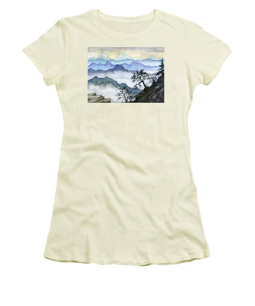Foggy Mountaines Sunset View  Women's T-Shirt (Junior Cut) by Alban Dizdari