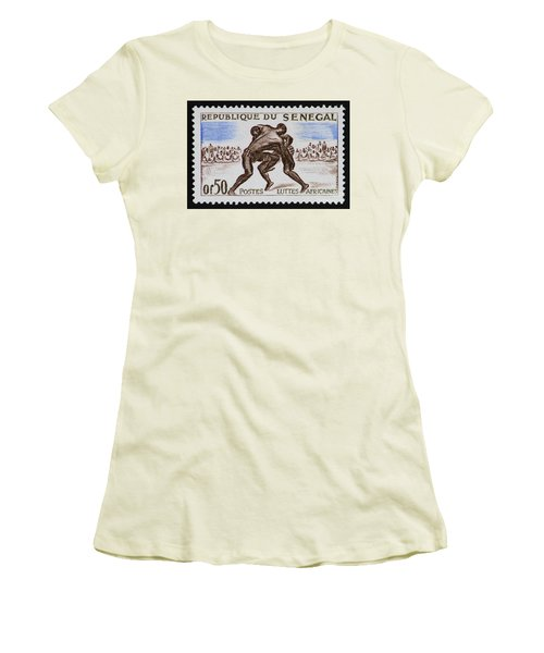 Folk Wrestling Vintage Postage Stamp Print Women's T-Shirt (Athletic Fit)