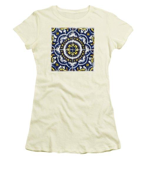 Four Painted Tiles-mexico Women's T-Shirt (Junior Cut) by Michael Flood