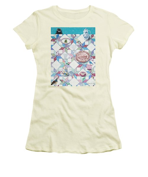 Women's T-Shirt (Junior Cut) featuring the painting Friends Come To Tea by Jennifer Lake