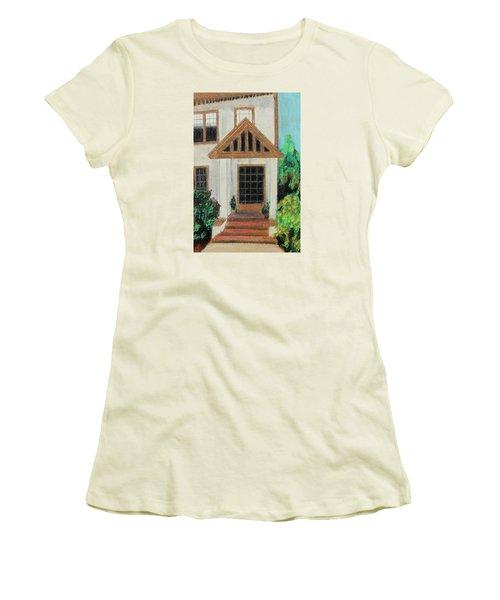 Women's T-Shirt (Junior Cut) featuring the painting Front Door 1 by Jeanne Fischer