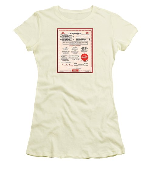 Fw Woolworth Lunch Counter Menu Women's T-Shirt (Athletic Fit)
