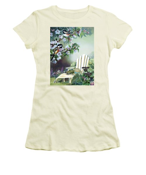 Chickadees In Blossom Tree Women's T-Shirt (Athletic Fit)