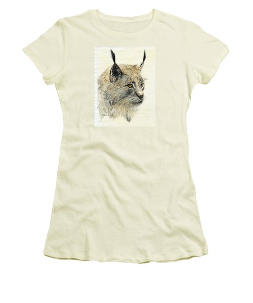 Gazing Lynx Women's T-Shirt (Junior Cut) by Phyllis Howard