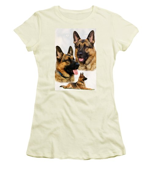 German Shepherd Collage Women's T-Shirt (Athletic Fit)