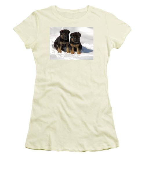 Women's T-Shirt (Junior Cut) featuring the photograph German Shepherd Pups by Aimee L Maher Photography and Art Visit ALMGallerydotcom