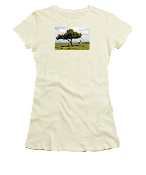 Giraffe And The Lonely Tree  Women's T-Shirt (Junior Cut) by Menachem Ganon