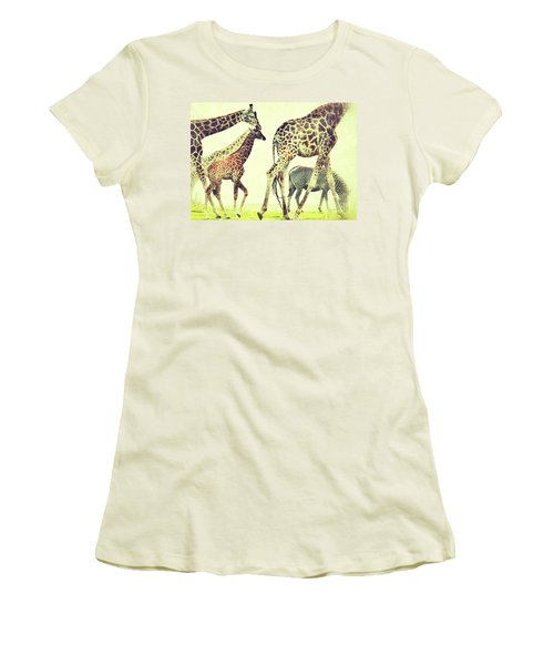 Women's T-Shirt (Junior Cut) featuring the photograph Giraffes And A Zebra In The Mist by Nick  Biemans