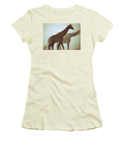 Women's T-Shirt (Junior Cut) featuring the photograph Giraffes In The Mist by Nick  Biemans