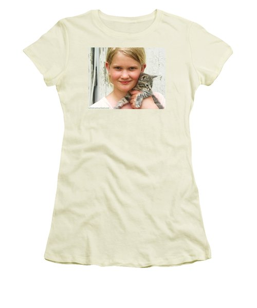 Girl With Kitten Women's T-Shirt (Athletic Fit)
