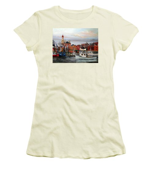 Gloucester Harbor Women's T-Shirt (Junior Cut) by Eileen Patten Oliver