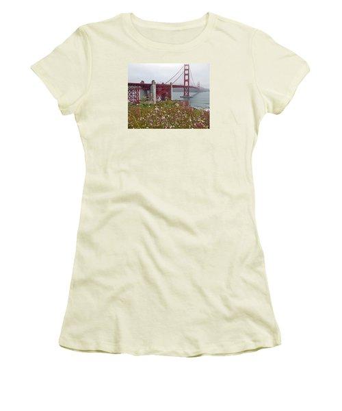 Golden Gate Bridge And Summer Flowers Women's T-Shirt (Junior Cut) by Connie Fox
