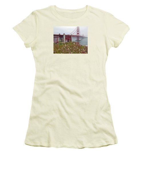 Golden Gate Bridge And Summer Flowers Women's T-Shirt (Athletic Fit)